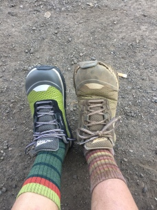 New shoes after 1,100 miles in Whites Pass....one is definitely smaller than the other